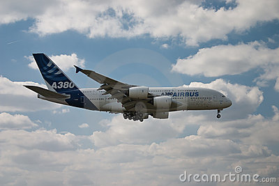 Airbus A380 flying side Editorial Stock Photo