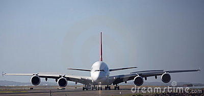 Airbus A380 front view on runway