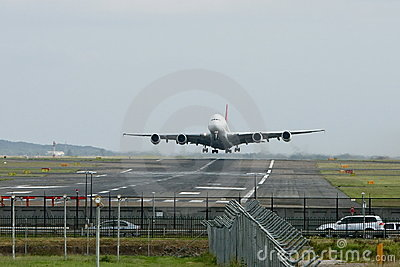 Airbus A380 jet aircraft taking off.