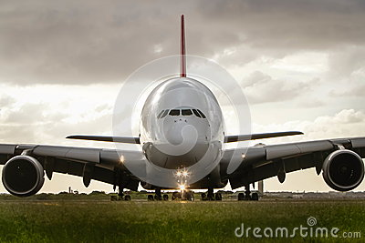 Airbus a380 jet airliner front on