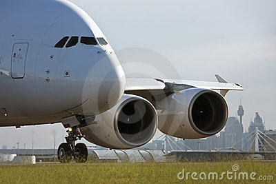 Airbus A380 jet airliner on runway