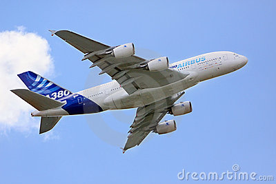 Airbus A380 in the sky Editorial Stock Image