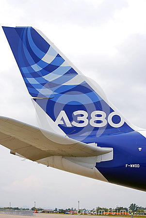 Airbus A380 tail at MAKS-2013 Editorial Photo