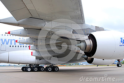 Airbus A380 tail and wings at MAKS-2013 Editorial Image