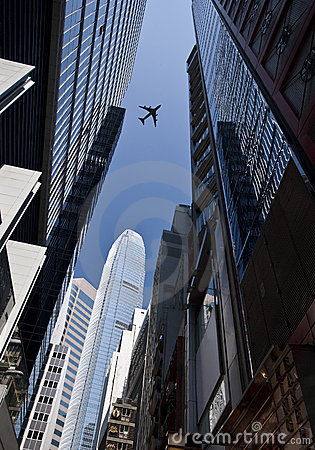 Aircraft above skyscrapers - Hong Kong