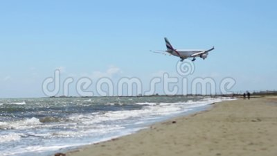 Aircraft flying over beach. Airplane arrival. Hijacked plane crash. Terrorism. Stock footage stock footage
