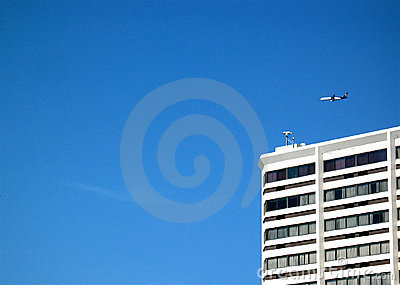 Aircraft flying over hotel