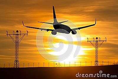Aircraft flying at sunset.