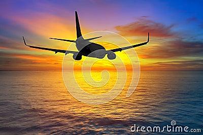 Aircraft flying at sunset