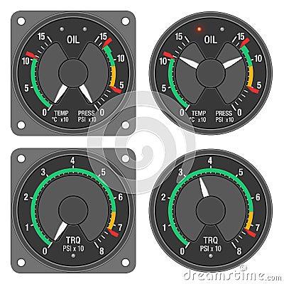 Aircraft indicators 1 - 480B dashboard set