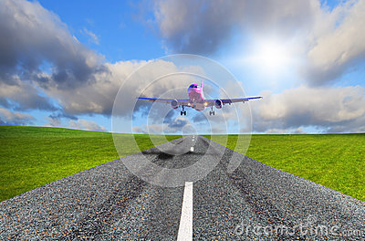 Aircraft landing on the airport