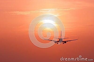 Aircraft landing at dusk