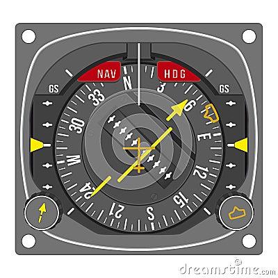 Aircraft navigation indicator - HSI (vector)