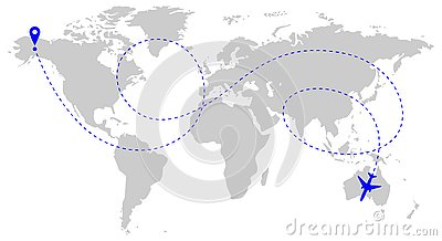 Aircraft route over world Cartoon Illustration