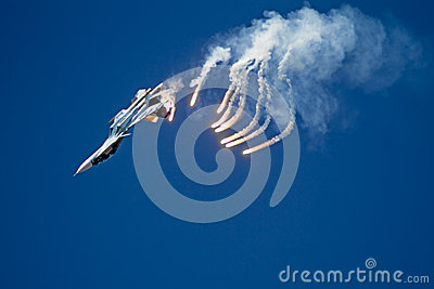 Aircraft Su-27 and  infrared countermeasure Editorial Stock Photo
