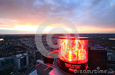 aircraft warning light on top of office building editorial. Black Bedroom Furniture Sets. Home Design Ideas