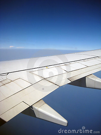 Aircraft wing in flight