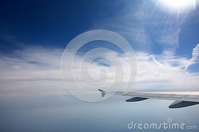 Aircraft wing in the sky