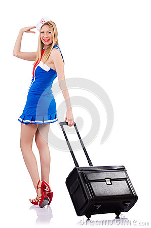 Airhostess med bagage