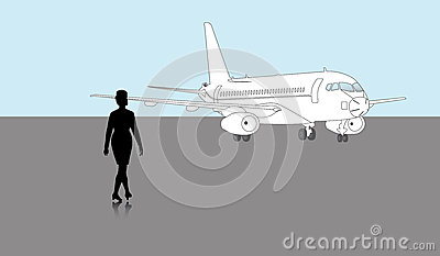 Airhostess and a Plane