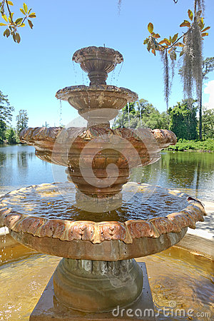 Free Airlie Garden Historic Stone Fountain Closeup In Wilmington NC. Royalty Free Stock Photography - 55228267