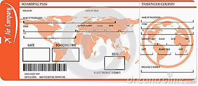 Airline Boarding Pass Tickets With Barcode Vector Illustration