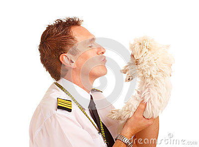 Airline pilot with dog