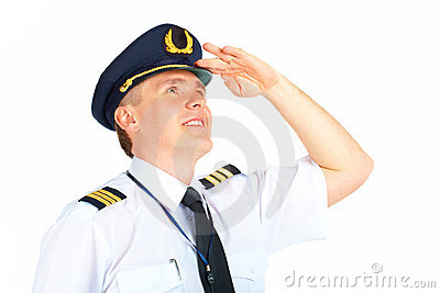 Airline pilot looking upwards