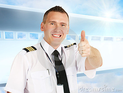 Airline pilot thumb up