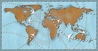 Airline planes travel flights world map