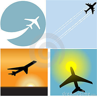 Free Airline Travel Passenger Plane Airport Icons Royalty Free Stock Photography - 10487637