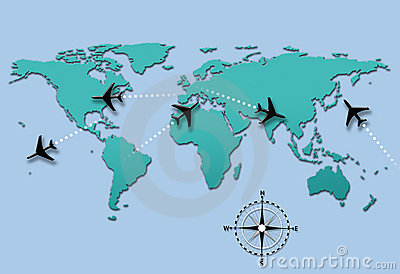 Airline travel plane flight paths on world map