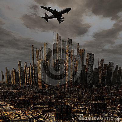 Airliner Above City Royalty Free Stock Images - Image: 12932429