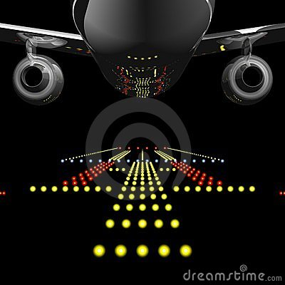 Free Airliner And Runway Lights Royalty Free Stock Photography - 4124717