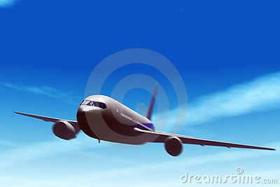 Airliner in fly.