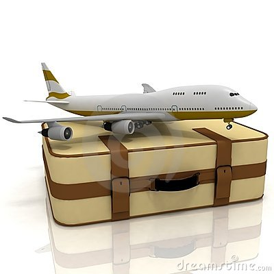 Airliner and suitcases