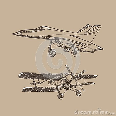 Airplaine sketch. Hand drawn illustration for your design Vector Illustration