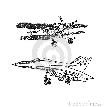 Airplaine sketch. Hand drawn illustration for your design Vector Illustration