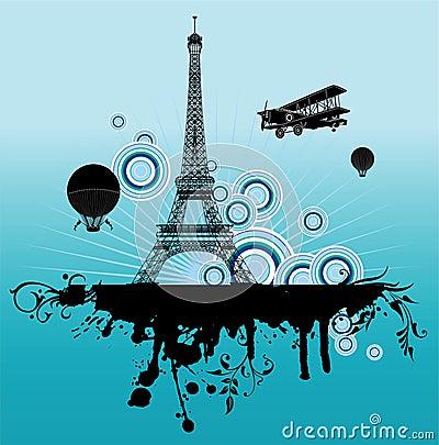 Airplane above Paris