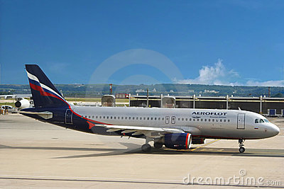 Airplane of Aeroflot, Russian airlines company  Editorial Photo