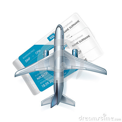 Airplane and airline tickets isolated