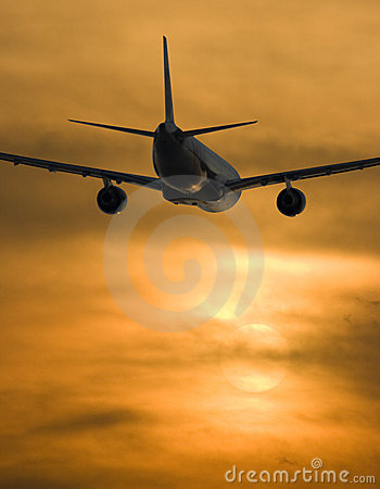 Free Airplane And Sunset Stock Image - 2975471