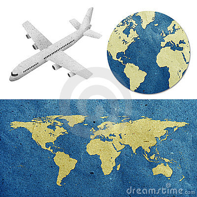 Free Airplane And World Map  Recycled Paper Craft Royalty Free Stock Photo - 19685185