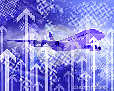 Airplane with the background of graphs and arrows