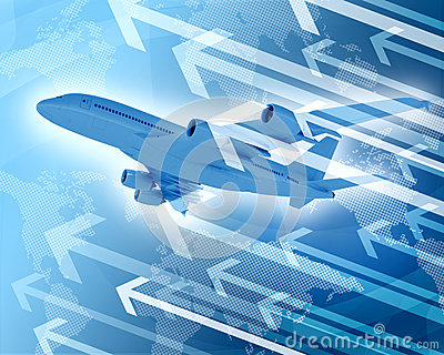 Airplane with background of world map and arrows