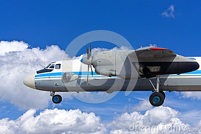 Airplane on a blue background