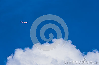 Airplane and blue sky