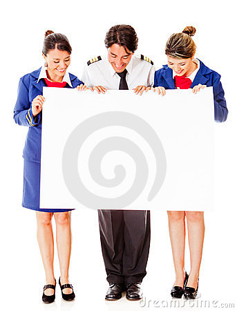 Airplane cabin crew with banner