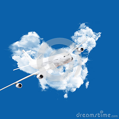 Airplane and clouds map