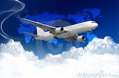 Airplane with clouds and world map